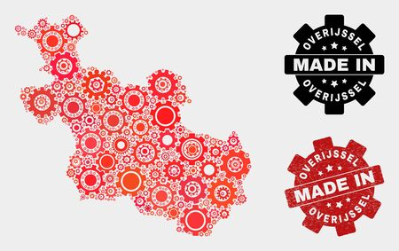 Mosaic industrial Overijssel Province map and textured stamp. Vector geographic abstraction in red colors. Mosaic of Overijssel Province map combined of random gearwheel elements. Ilustração