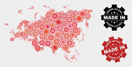 Mosaic industrial Europe and Asia map and grunge seal. Vector geographic abstraction in red colors. Mosaic of Europe and Asia map composed from random cog elements. Red colored model for industrial,