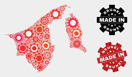Mosaic technical Brunei map and scratched stamp. Vector geographic abstraction in red colors. Mosaic of Brunei map combined of scattered cogwheel items. Red colored model for technical, Çizim
