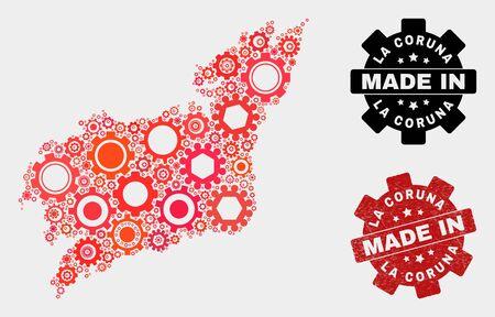 Mosaic industrial La Coruna Province map and grunge seal. Vector geographic abstraction in red colors. Mosaic of La Coruna Province map combined of random wheel items. Banco de Imagens - 132245506