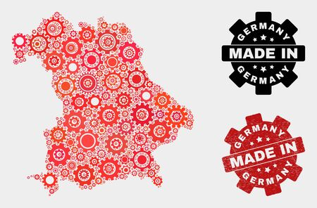 Mosaic gear Germany map and textured stamp. Vector geographic abstraction in red colors. Mosaic of Germany map combined of random gear items. Red colored model for service, or patriotic illustrations.