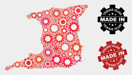 Mosaic gear Trinidad Island map and scratched stamp. Vector geographic abstraction in red colors. Mosaic of Trinidad Island map designed from random gear items. Red colored model for technical, Ilustração