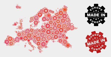Mosaic gear Europe map and textured stamp. Vector geographic abstraction in red colors. Mosaic of Europe map composed from scattered gear items. Red colored model for mechanic,