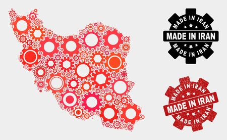Mosaic industrial Iran map and grunge seal. Vector geographic abstraction in red colors. Mosaic of Iran map combined of scattered gearwheel items. Red colored model for workshop,