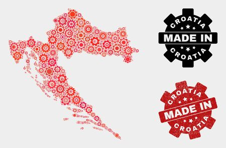 Mosaic technical Croatia map and textured stamp. Vector geographic abstraction in red colors. Mosaic of Croatia map combined of scattered cogwheel items. Red colored model for technical, Banco de Imagens - 132246923