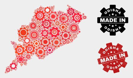 Mosaic technical Odisha State map and grunge seal. Vector geographic abstraction in red colors. Mosaic of Odisha State map combined of scattered cog elements. Red colored model for technical,