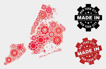 Mosaic technical New York City map and textured seal. Vector geographic abstraction in red colors. Mosaic of New York City map combined of scattered cog items. Red colored model for technical, 일러스트