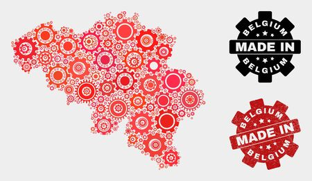 Mosaic industrial Belgium map and grunge seal. Vector geographic abstraction in red colors. Mosaic of Belgium map combined of random cog elements. Red colored model for mechanic, Çizim