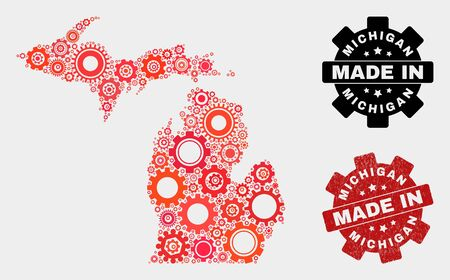 Mosaic gear Michigan State map and grunge stamp. Vector geographic abstraction in red colors. Mosaic of Michigan State map designed from scattered gear items. Red colored model for mechanic,