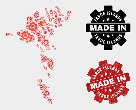 Mosaic technical Faroe Islands map and grunge stamp. Vector geographic abstraction in red colors. Mosaic of Faroe Islands map designed from random gearwheel elements. Red colored model for technical,