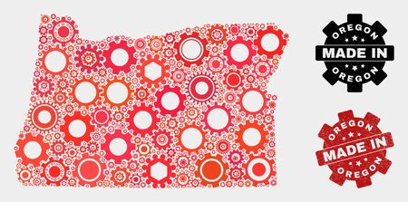 Mosaic gear Oregon State map and grunge stamp. Vector geographic abstraction in red colors. Mosaic of Oregon State map composed from scattered gear elements. Red colored model for workshop, 일러스트