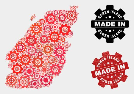 Mosaic industrial Bowen Island map and scratched stamp. Vector geographic abstraction in red colors. Mosaic of Bowen Island map combined of scattered cogwheel elements. Red colored model for service,