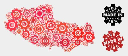 Mosaic technical Tibet map and textured stamp. Vector geographic abstraction in red colors. Mosaic of Tibet map combined of random gear items. Red colored model for technical,  イラスト・ベクター素材