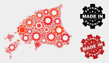 Mosaic technical Estonia map and grunge stamp. Vector geographic abstraction in red colors. Mosaic of Estonia map designed from random cogwheel items. Red colored model for technical,