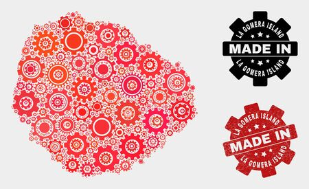 Mosaic gear La Gomera Island map and scratched stamp. Vector geographic abstraction in red colors. Mosaic of La Gomera Island map combined of random gearwheel items. Red colored model for technical, Standard-Bild - 132382398