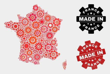Mosaic industrial France map and scratched stamp. Vector geographic abstraction in red colors. Mosaic of France map combined of random cog items. Red colored model for workshop,