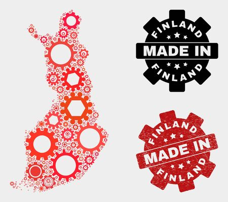 Mosaic gear Finland map and scratched seal. Vector geographic abstraction in red colors. Mosaic of Finland map combined of random gear elements. Red colored model for mechanic, Ilustração