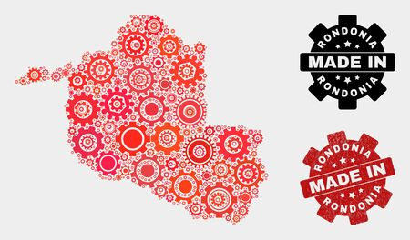 Mosaic industrial Rondonia State map and grunge stamp. Vector geographic abstraction in red colors. Mosaic of Rondonia State map designed from scattered cogwheel items.