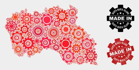 Mosaic technical Santa Maria Island map and grunge seal. Vector geographic abstraction in red colors. Mosaic of Santa Maria Island map combined of random gear elements. Red colored model for mechanic, Illustration