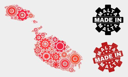 Mosaic gear Malta map and grunge seal. Vector geographic abstraction in red colors. Mosaic of Malta map combined of scattered gear items. Red colored model for service, or patriotic purposes.