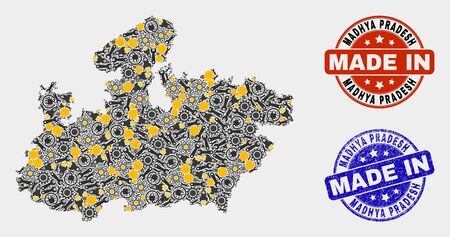 Mosaic gear Madhya Pradesh State map and blue Made In textured seal. Vector geographic abstraction model for workshop, or political posters.