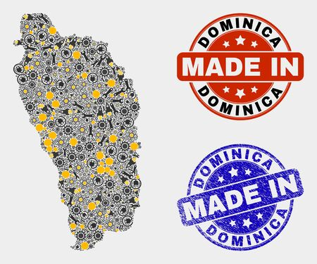 Mosaic industrial Dominica Island map and blue Made In grunge seal. Vector geographic abstraction model for service, or political posters. Mosaic of Dominica Island map combined of scattered gears,