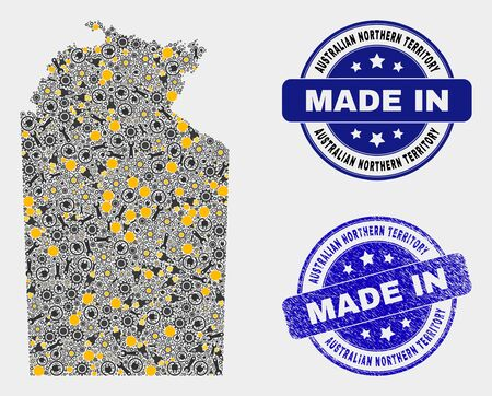 Mosaic industrial Australian Northern Territory map and blue Made In grunge seal. Vector geographic abstraction model for industrial, or patriotic purposes. Illustration