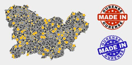Mosaic technical Ourense Province map and blue Made In grunge stamp. Vector geographic abstraction model for workshop, or patriotic posters. Mosaic of Ourense Province map combined of random cogwheel,