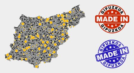 Mosaic technical Gipuzkoa Province map and blue Made In grunge stamp. Vector geographic abstraction model for industrial, or patriotic posters.