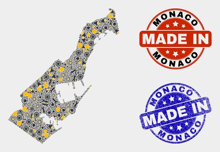 Mosaic technical Monaco map and blue Made In scratched stamp. Vector geographic abstraction model for technical, or patriotic posters. Mosaic of Monaco map combined of scattered cogs, spanners, lamps, Illusztráció