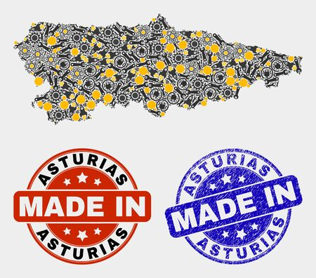 Mosaic industrial Asturias Province map and blue Made In textured seal. Vector geographic abstraction model for industrial, or political templates. Illusztráció