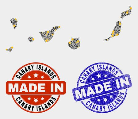 Mosaic industrial Canary Islands map and blue Made In textured seal. Vector geographic abstraction model for workshop, or patriotic posters.