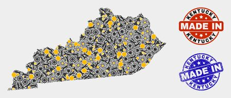 Mosaic industrial Kentucky State map and blue Made In grunge seal. Vector geographic abstraction model for workshop, or political purposes. Mosaic of Kentucky State map combined of scattered cogs,