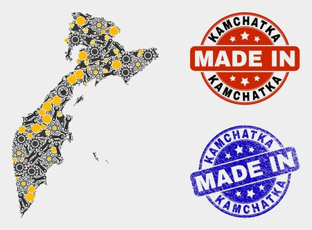 Mosaic industrial Kamchatka map and blue Made In textured seal. Vector geographic abstraction model for industrial, or political purposes. Mosaic of Kamchatka map combined of random cogwheel,