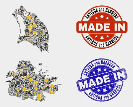 Mosaic industrial Antigua and Barbuda map and blue Made In textured seal. Vector geographic abstraction model for mechanic, or patriotic templates. Illusztráció