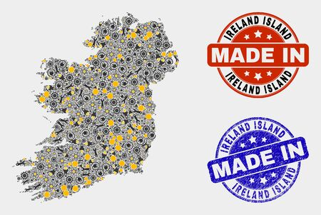 Mosaic industrial Ireland Island map and blue Made In grunge seal. Vector geographic abstraction model for workshop, or political templates. Illustration