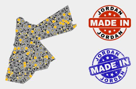 Mosaic industrial Jordan map and blue Made In grunge stamp. Vector geographic abstraction model for service, or political illustrations. Mosaic of Jordan map combined of random gears, spanners, lamps,