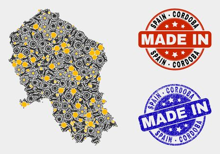 Mosaic technical Cordoba Spanish Province map and blue Made In grunge seal. Vector geographic abstraction model for technical, or patriotic illustrations. Illustration