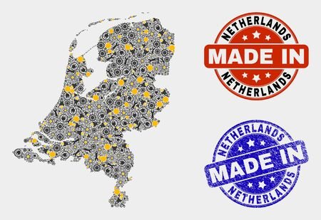 Mosaic gear Netherlands map and blue Made In grunge stamp. Vector geographic abstraction model for service, or political purposes. Mosaic of Netherlands map combined of random gears, spanners,