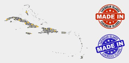 Mosaic industrial Caribbean Islands map and blue Made In textured seal. Vector geographic abstraction model for industrial, or political templates.