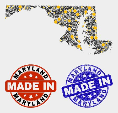 Mosaic industrial Maryland State map and blue Made In scratched stamp. Vector geographic abstraction model for service, or political posters. Mosaic of Maryland State map combined of random cogwheel,