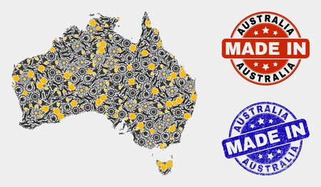 Mosaic gear Australia map and blue Made In grunge seal. Vector geographic abstraction model for service, or political templates. Mosaic of Australia map combined of scattered gears, wrenches, lamps,