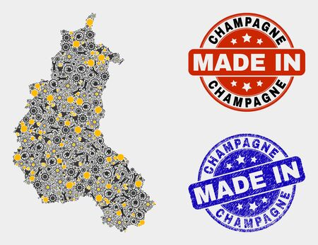 Mosaic industrial Champagne Province map and blue Made In textured seal. Vector geographic abstraction model for industrial, or patriotic templates.
