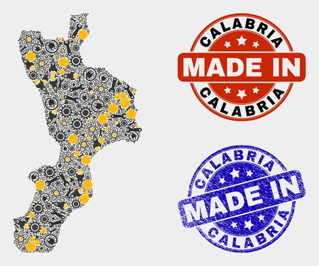 Mosaic technical Calabria region map and blue Made In scratched stamp. Vector geographic abstraction model for service, or patriotic posters. Mosaic of Calabria region map combined of random gears,