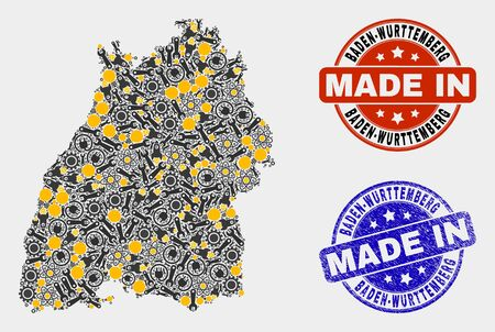 Mosaic industrial Baden-Wurttemberg Land map and blue Made In grunge stamp. Vector geographic abstraction model for workshop, or political templates.