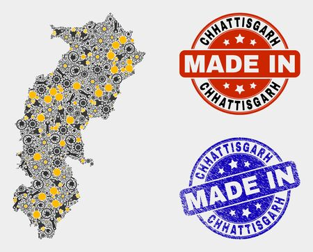 Mosaic industrial Chhattisgarh State map and blue Made In scratched stamp. Vector geographic abstraction model for mechanic, or political posters.