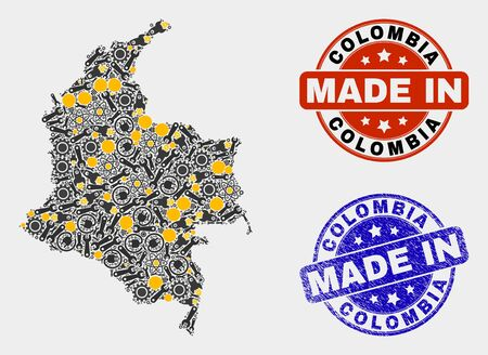 Mosaic industrial Colombia map and blue Made In grunge stamp. Vector geographic abstraction model for industrial, or patriotic posters. Mosaic of Colombia map combined of random cogwheel, spanners,