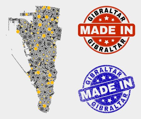 Mosaic industrial Gibraltar map and blue Made In grunge seal. Vector geographic abstraction model for industrial, or patriotic templates. Mosaic of Gibraltar map composed from scattered gearwheels,