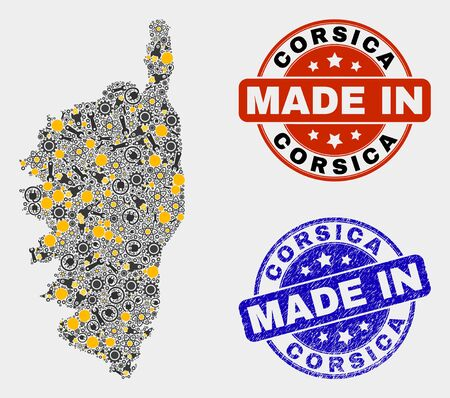 Mosaic industrial Corsica map and blue Made In textured stamp. Vector geographic abstraction model for workshop, or patriotic purposes. Mosaic of Corsica map combined of random gears, spanners,