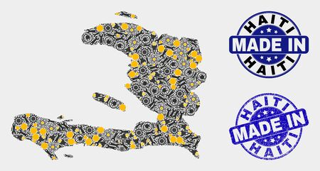 Mosaic industrial Haiti map and blue Made In textured stamp. Vector geographic abstraction model for service, or patriotic purposes. Mosaic of Haiti map combined of scattered wheel, wrenches, lamps,